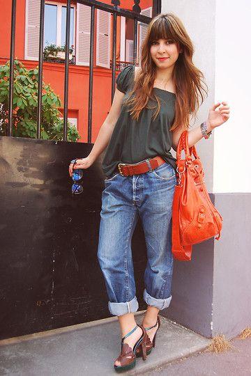 Valentine Hello - Zara T Shirt, ? My Boyfriend's Jeans, Mellow Yellow Plateforms, Balenciaga Giant Covered Pompon - When khaki meets orange