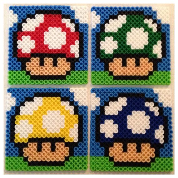 super mario mushroom perler bead coasters by k8bithero diy basteln pinterest. Black Bedroom Furniture Sets. Home Design Ideas