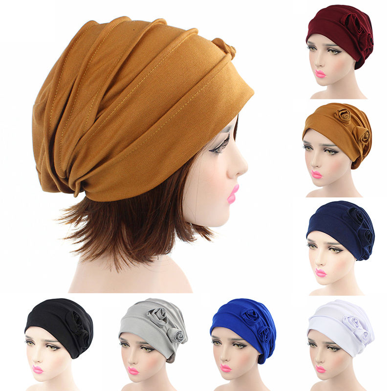 Women Cotton Flower Hat Cancer Chemo Beanie Baggy Cap Turban Hijab Wrap