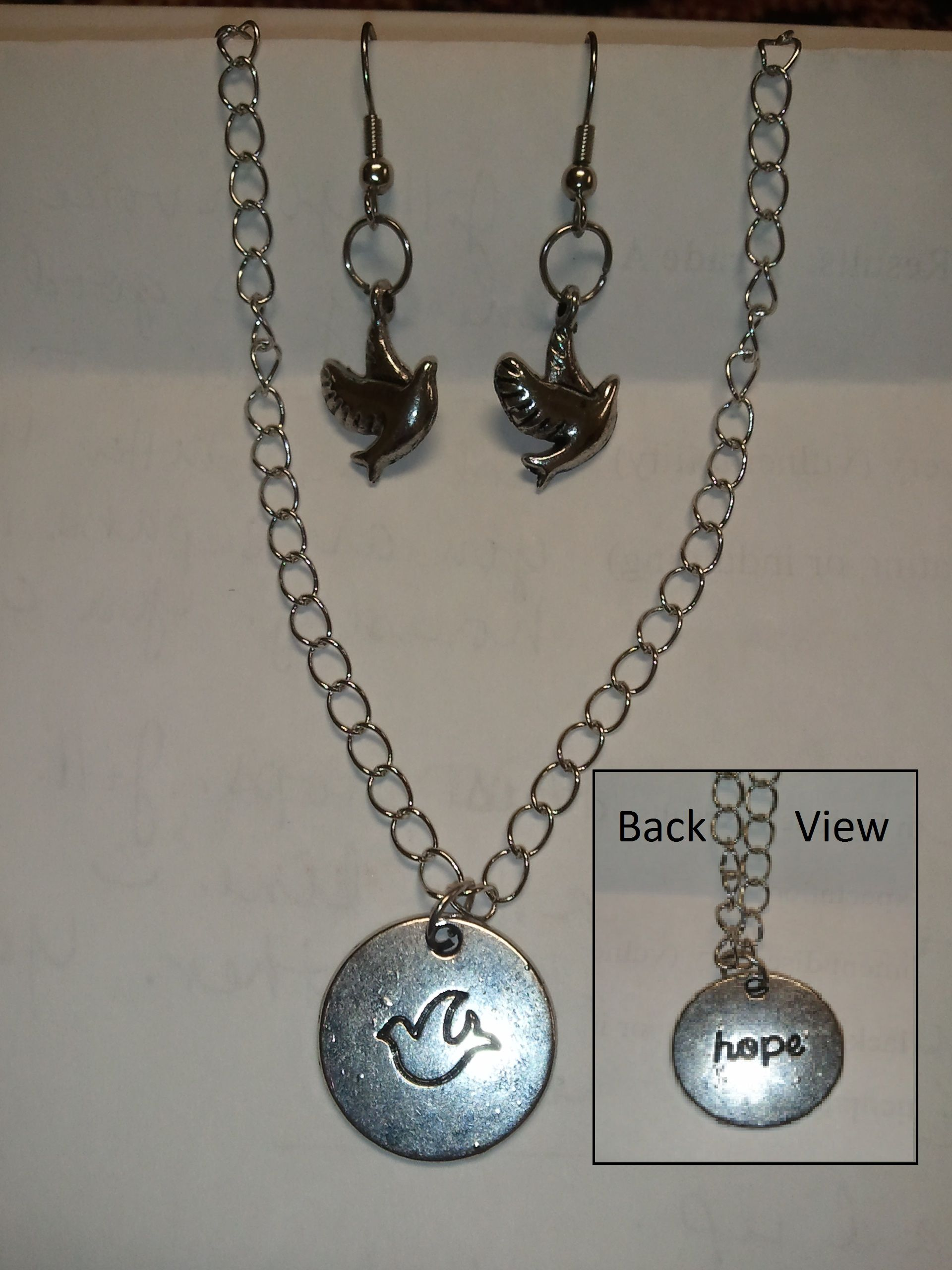 Hope necklace and Dove earring set  $10.00