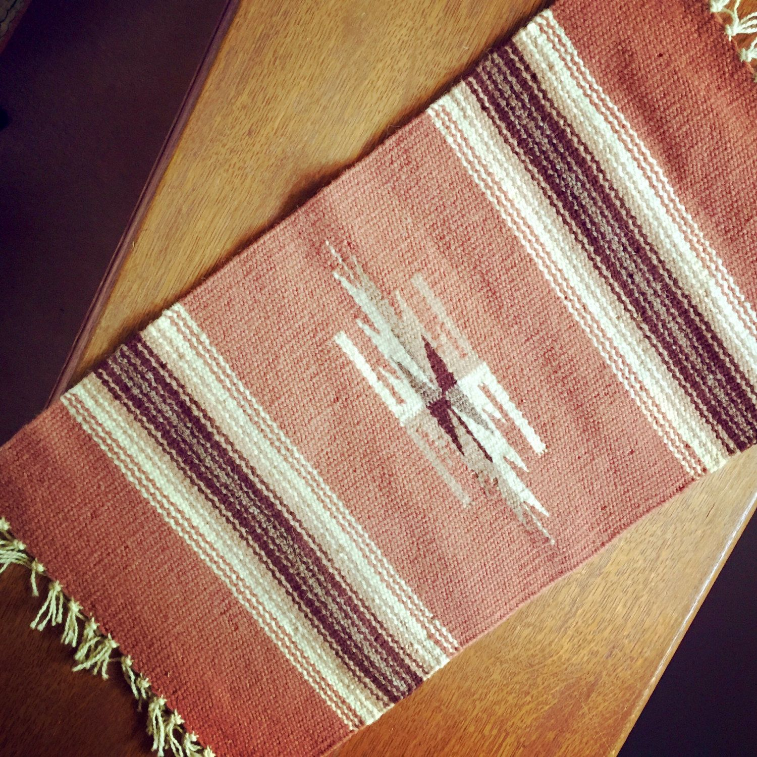 Navajo Woven Table Runner Wool Native American Textiles Tribal Decor Mexican Rugs Vintage Southwestern By Rushcreekvintage