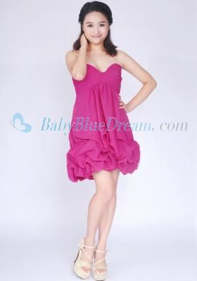 Empire Sweetheart Fuchsia Chiffon Graduation Dress/3S001 Ready To Ship Under $100 Empire Sweetheart Fuchsia Chiffon Above Knee Length Graduation Dress_Discount Graduation Dress_Bridesmaid Dress babybluedream.com [3S001] - $59.99 : Designer Wedding Dresses, Graduation Dresses and Prom Dresses at Babybluedream.com