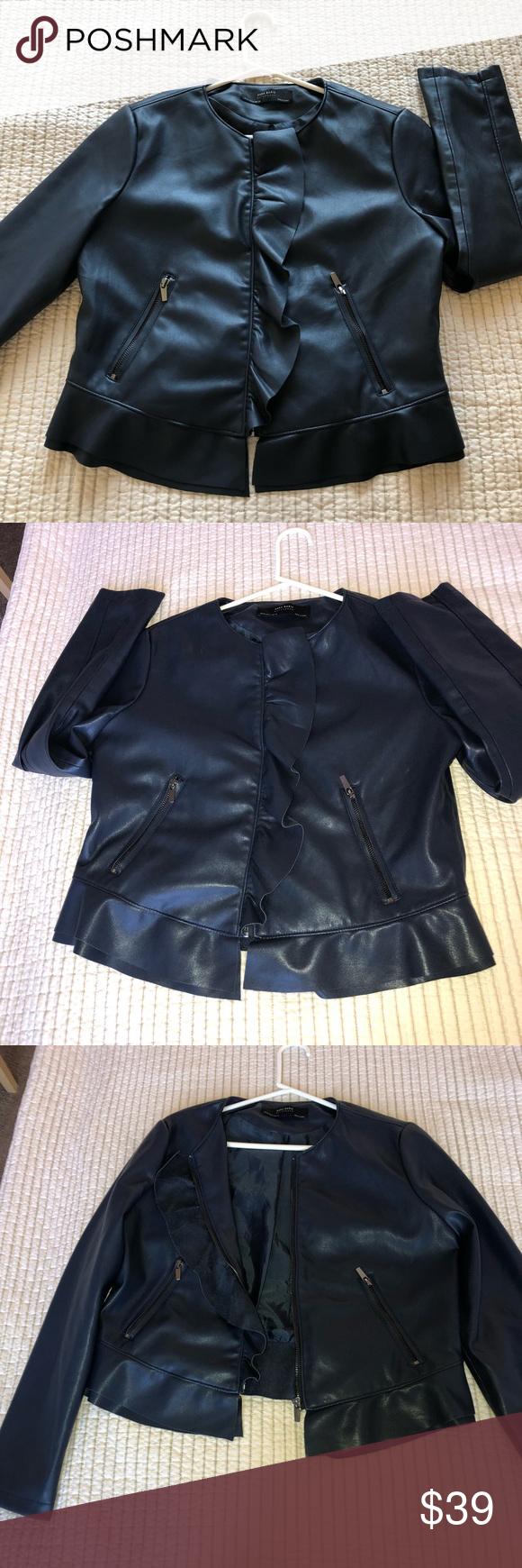 Zara Navy Blue Faux aka Vegan Leather Jacket 2017 Vegan