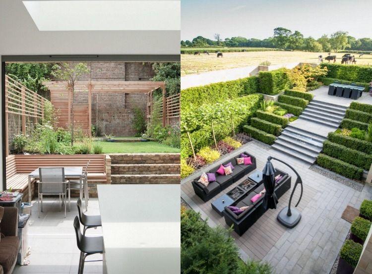 senkgarten-sitzplatz-gestalten-modern-terrassiert-sichtschutz - gartengestaltung modern sichtschutz