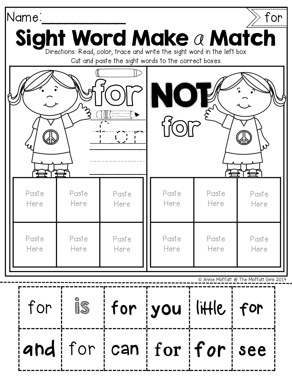 Sight Word Make A Match No Prep Packet The Bundle