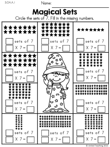 Sets And Multiplication Sentences Part Of The Multiplication Math Wizards Packets 1st Grade Math Worksheets 2nd Grade Math Worksheets Kids Math Worksheets
