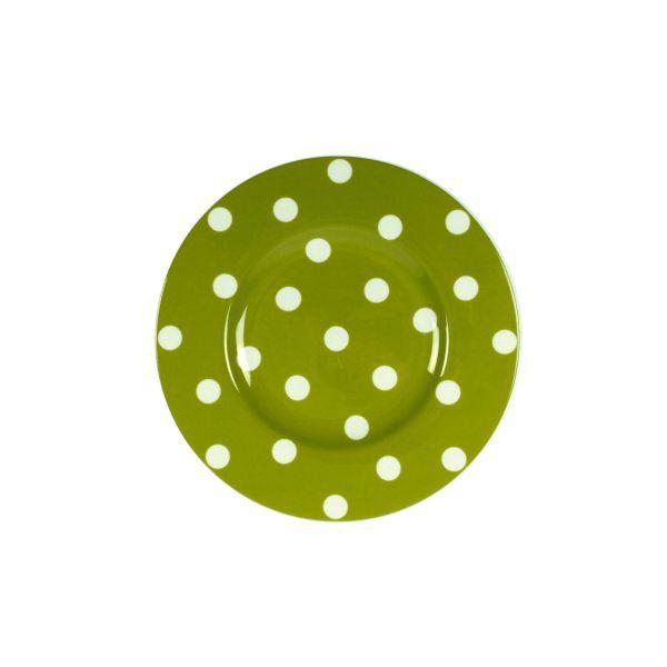 Assiette à dessert ronde porcelaine Freshness Dots olive - Bruno Evrard Création