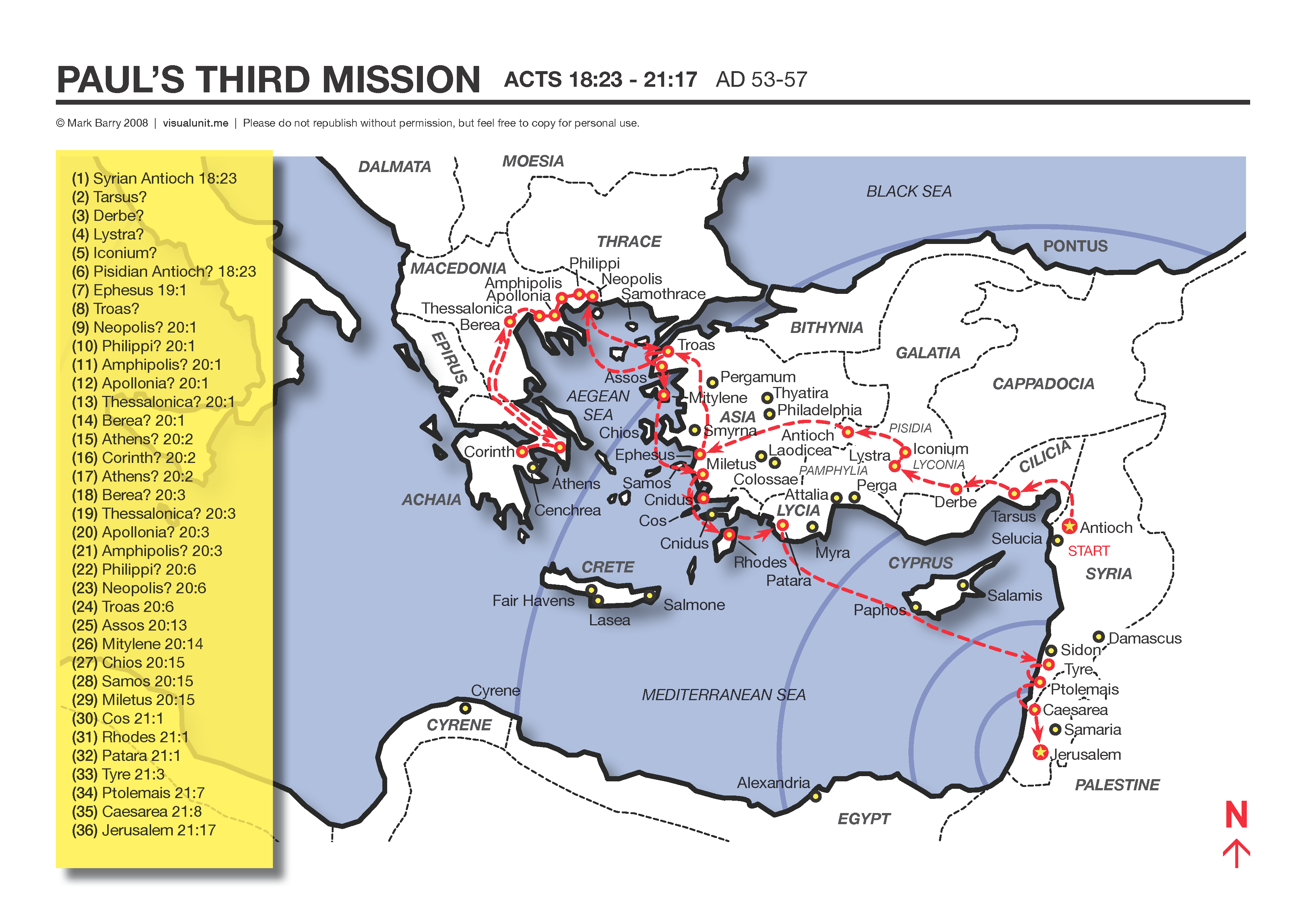 A Map Showing The Apostle Paul S Third Missionary Journey Acts 18 23