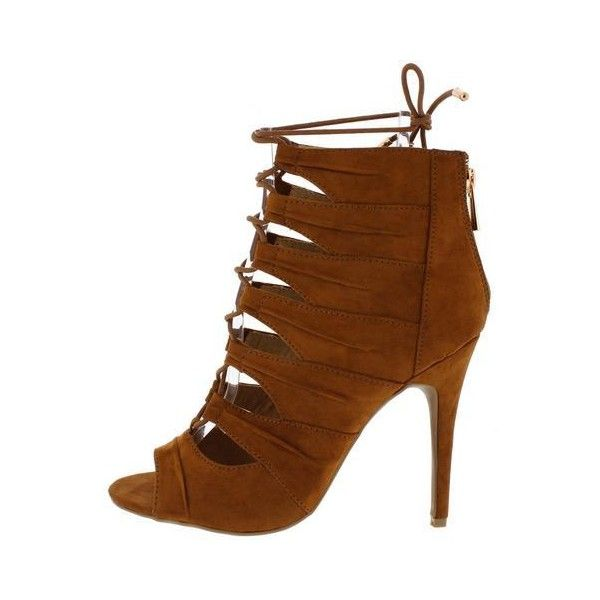 PRINCESS73M COGNAC SU OPEN TOE MULTI RUCHED STRAP LACE UP FASHION... ($11) ❤ liked on Polyvore featuring shoes, flat shoes, lace up flat shoes, open toe flats, t-strap flats and wedge shoes