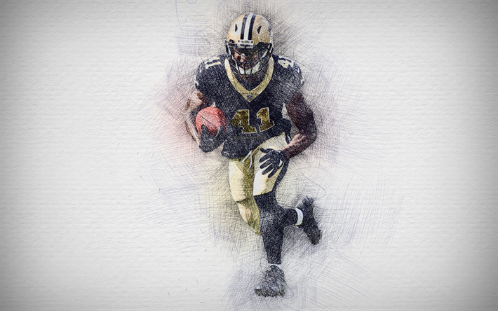 Download Wallpapers Alvin Kamara 4k Artwork Running Back