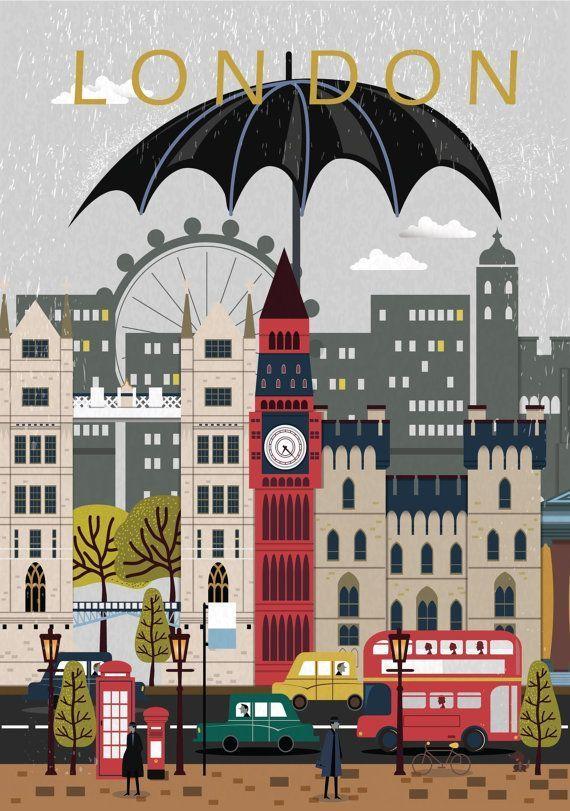 Cartel de la ciudad de Londres, impresión del viaje, arte de la pared, cartel de la ciudad moderna, arte moderno del viaje, impresión del paisaje urbano, arte de Londres, impresión de Londres, cartel de Londres