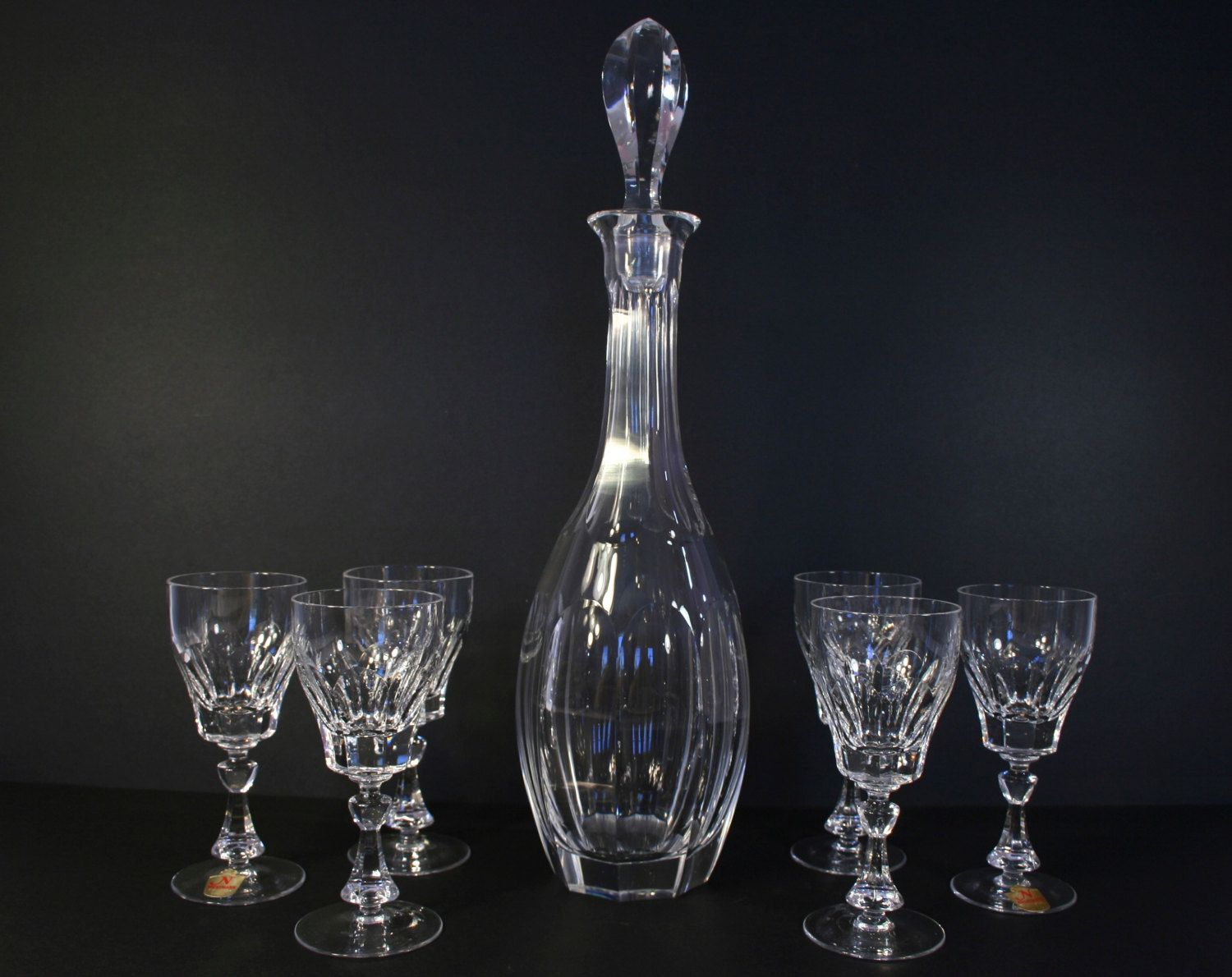 Vintage Nachtmann Bleikristall Crystal Decanter With Stopper And Six 6 Matching Crystal Port