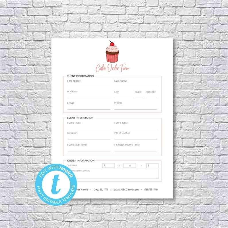 Cake Cupcake Baking Decorating Business Editable And Printable Order Form Receipt Template Spreadsheet Template Pricing Calculator