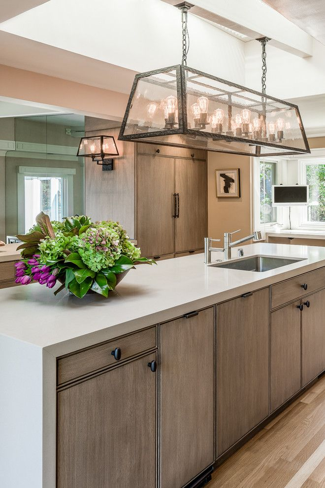 prefab kitchen cabinets craftsman style 20 amazing transitional designs for your home light fittings kitchens with waterfall countertop in san francisco