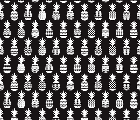 Fun black and white ananas geometric pineapple fruit summer beach theme illustration pattern fabric surface design by Little Smilemakers on Spoonflower - custom fabric and wallpaper inspiration