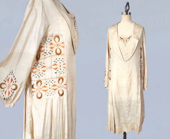 1920s Dress / 20s Egyptian Revival Embroidered Dress / RARE L XL ...