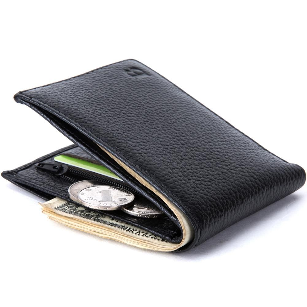 CREDIT CARD HOLDER PURSE BLACK MENS LUXURY SOFT QUALITY LEATHER WALLET