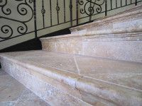 Cordoba Cream Travertine Stair Treads And Risers Of A Grand Staircase.  Handywork Of Central Coast