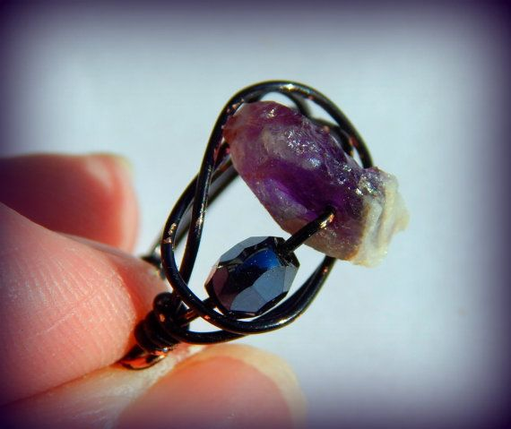 Raw Amethyst Ring Purple Ring Large Amethyst by wheredshegetthat