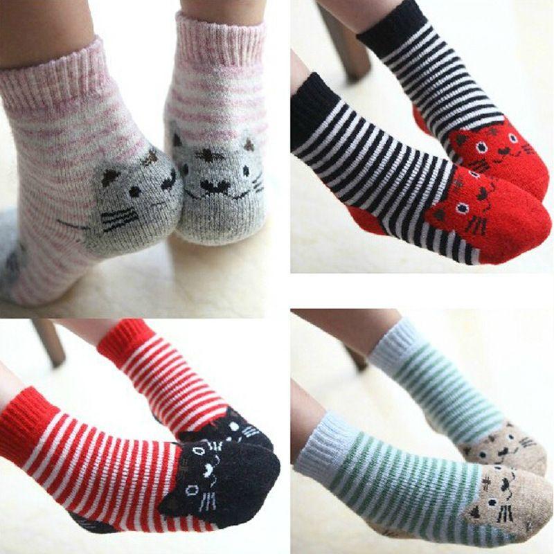 Cat Socks Winter Wool Socks  Kids
