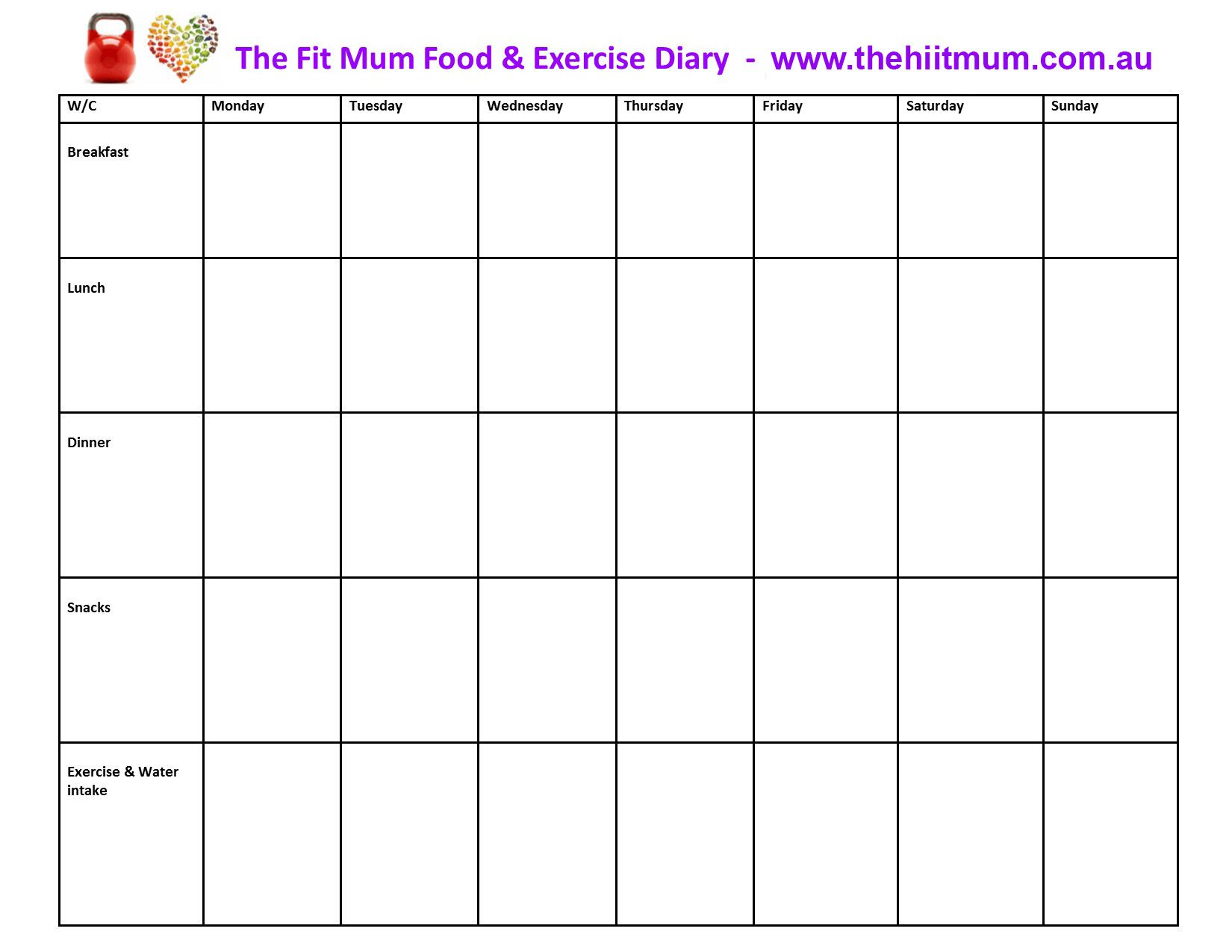 Journal Food Diary Template  Diet And Exercise