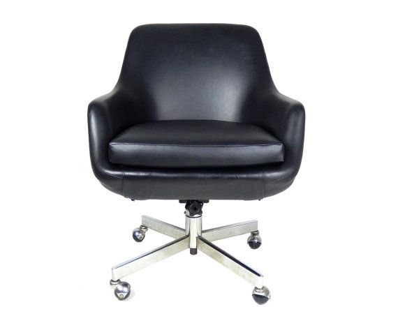 Mid Century Modern Office Chair Black Chrome Swivel Desk Pod Overman