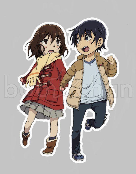 Erased Anime Sticker Kayo Hinazuki And Satoru Fujinuma Chibi Boku Dake Ga Inai Machi Anime Stickers Chibi Anime