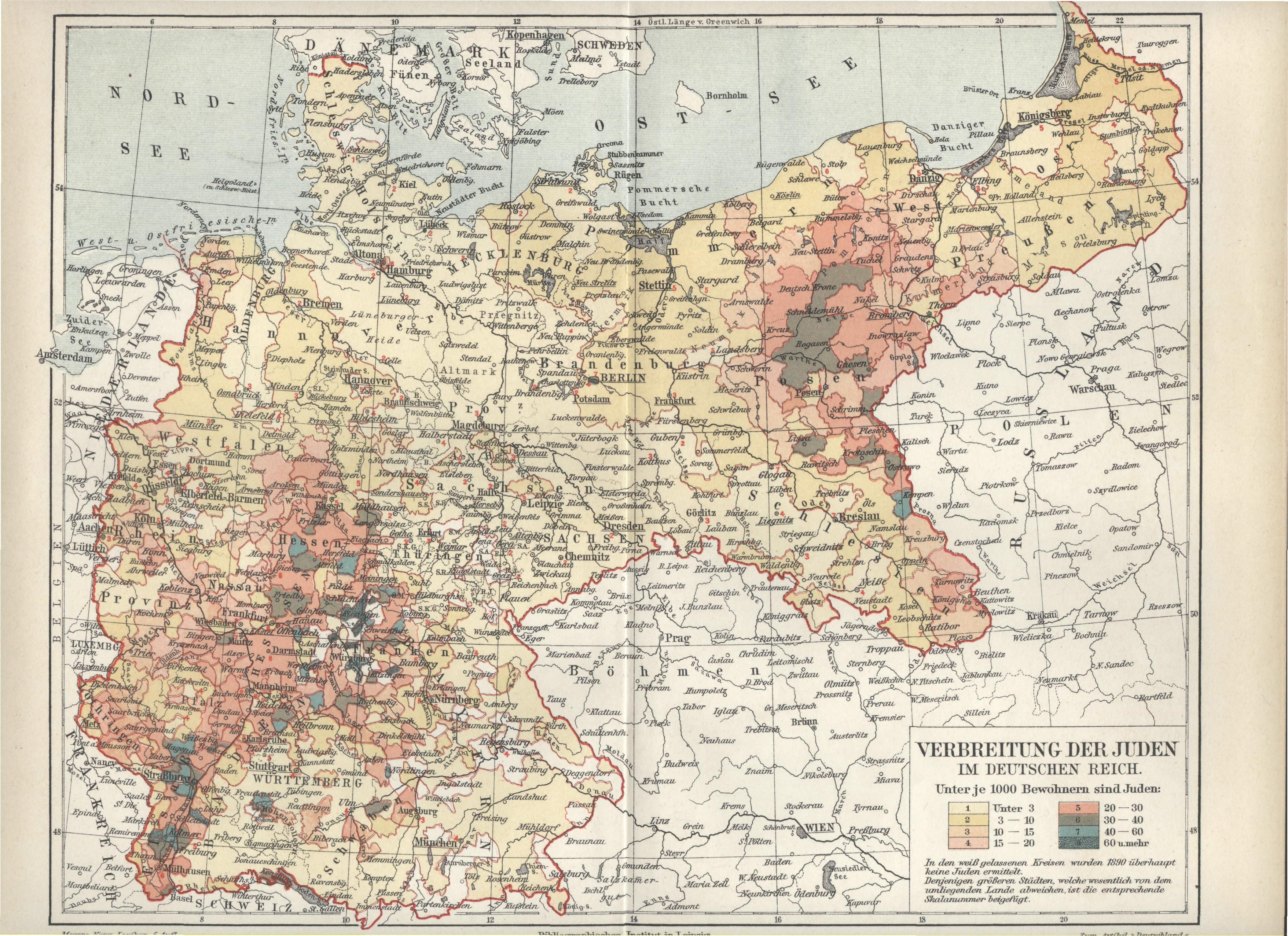 Map From The 1890s That Illustrates The Distribution Of Jews In