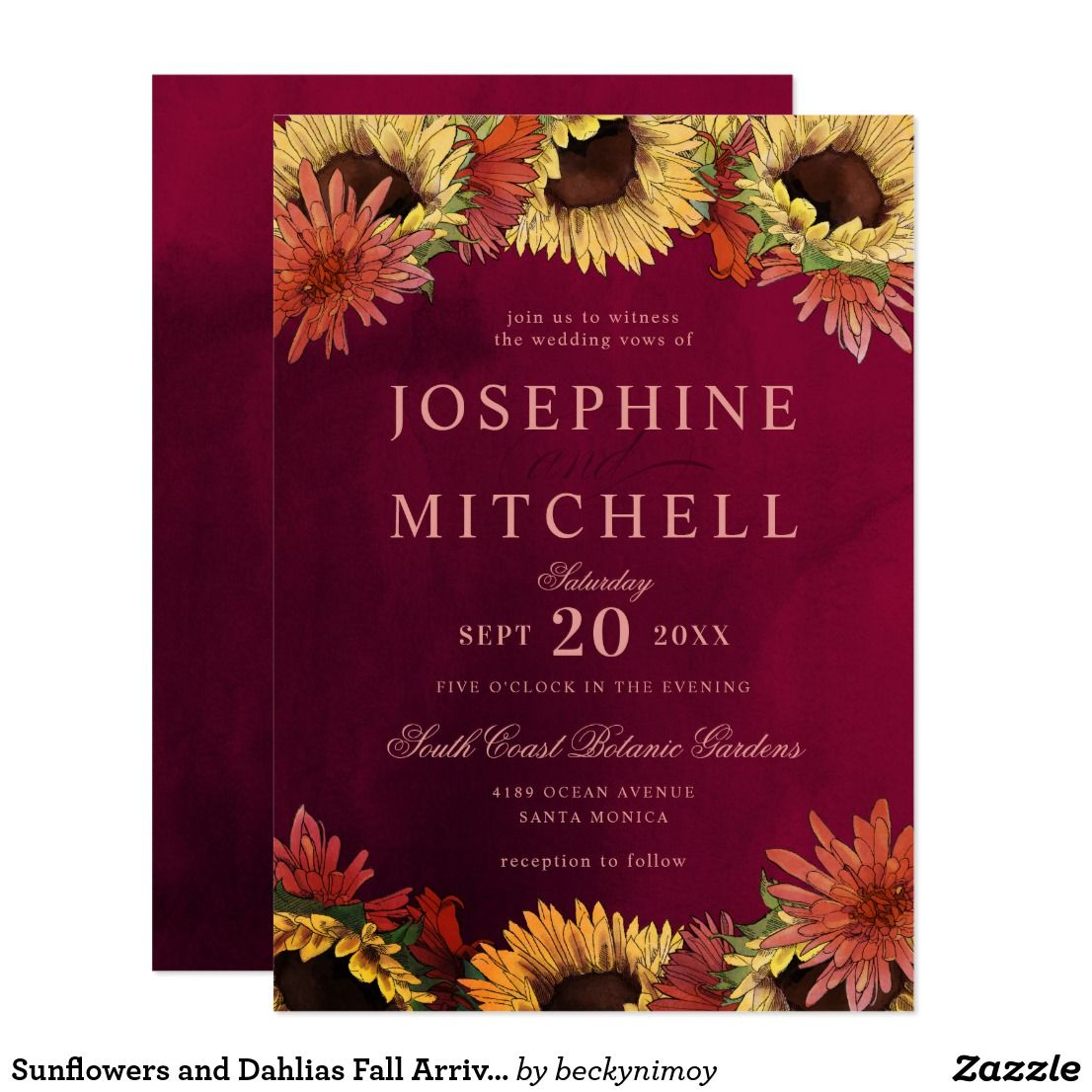 Sunflowers and Dahlias Fall Arrival Burgundy Red Invitation ...
