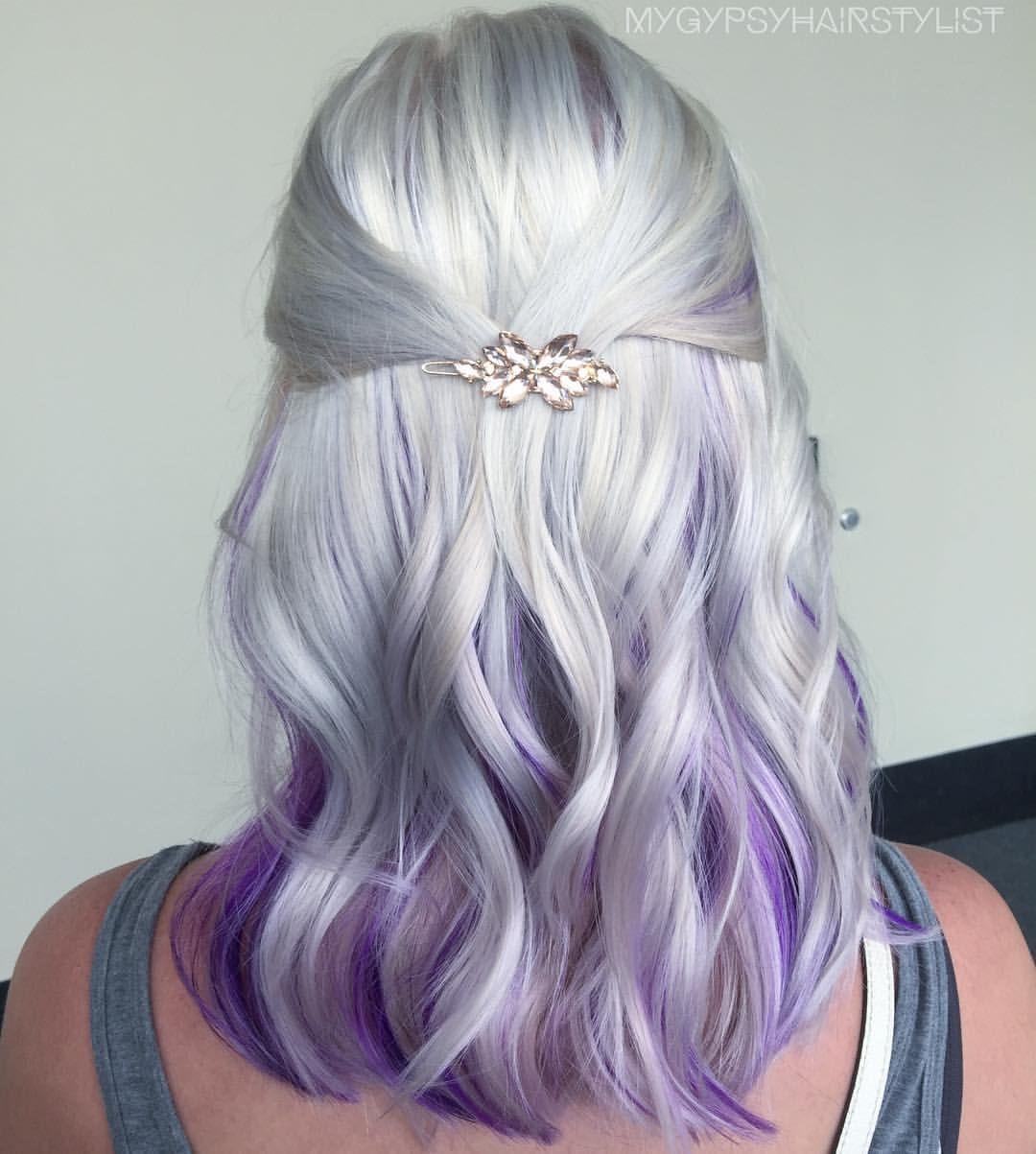 white hair/ purple hair/ trendy hair color ideas/ blonde