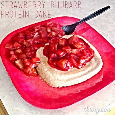 Strawberry Rhubarb Protein Cake! High protein, low carb, paleo, sugar free, and delicious!!