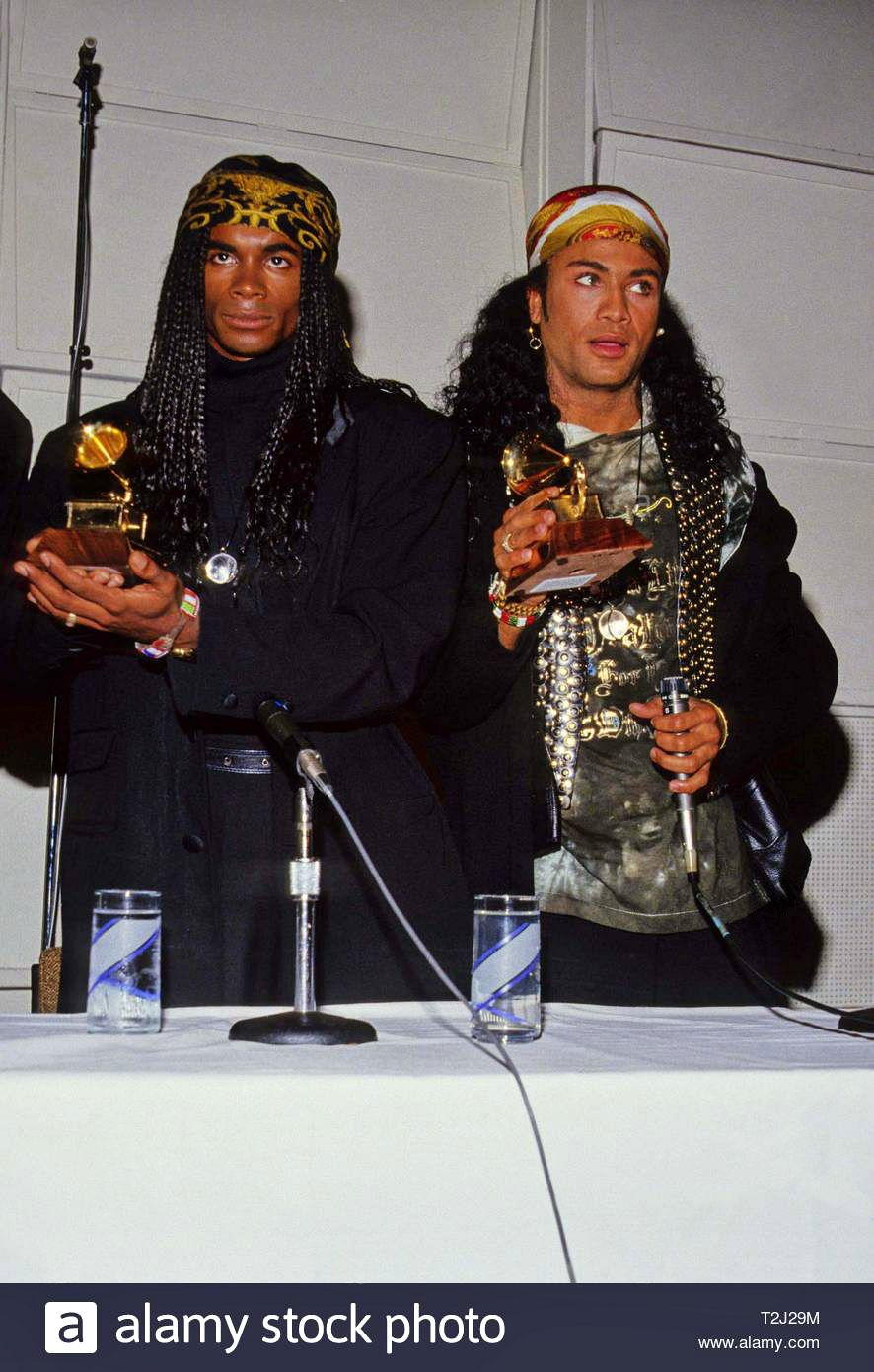 November 20, 1990 Rob Pilatus and Fab Morvan of Milli Vanilli at a Press Conference presenting their Grammy to the actual singers at Ocean Way Recording Studios in Hollywood, California.