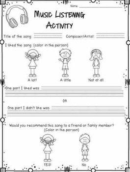 Music Listening Activity Worksheet | Classroom Music ...