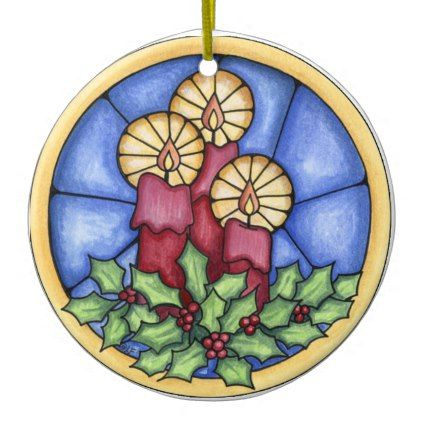 Stain Glass Candles christmas Ceramic Ornament Glass candle