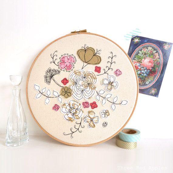 Embroidery Textile Artwork Hello Petal Floral Hoop Art In Pink
