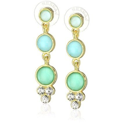 Anne Klein Gold-Tone Teal and Crystal Double Drop Earrings - designer shoes, handbags, jewelry, watches, and fashion accessories | endless.com
