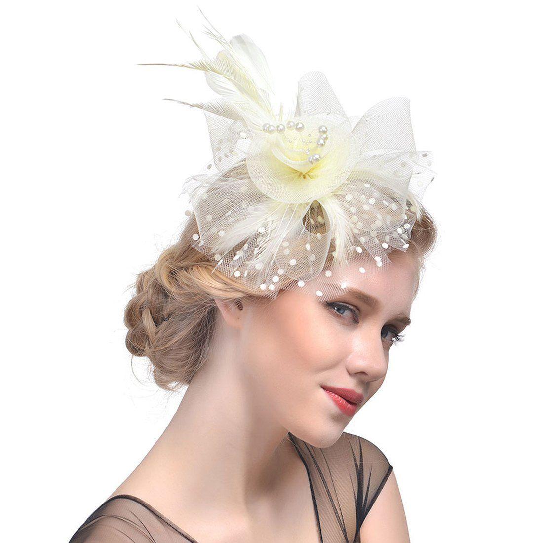 Women s Fascinators Hat Flower Mesh Ribbons Headband Forked Clip Wedding  Headwear a417137cd00