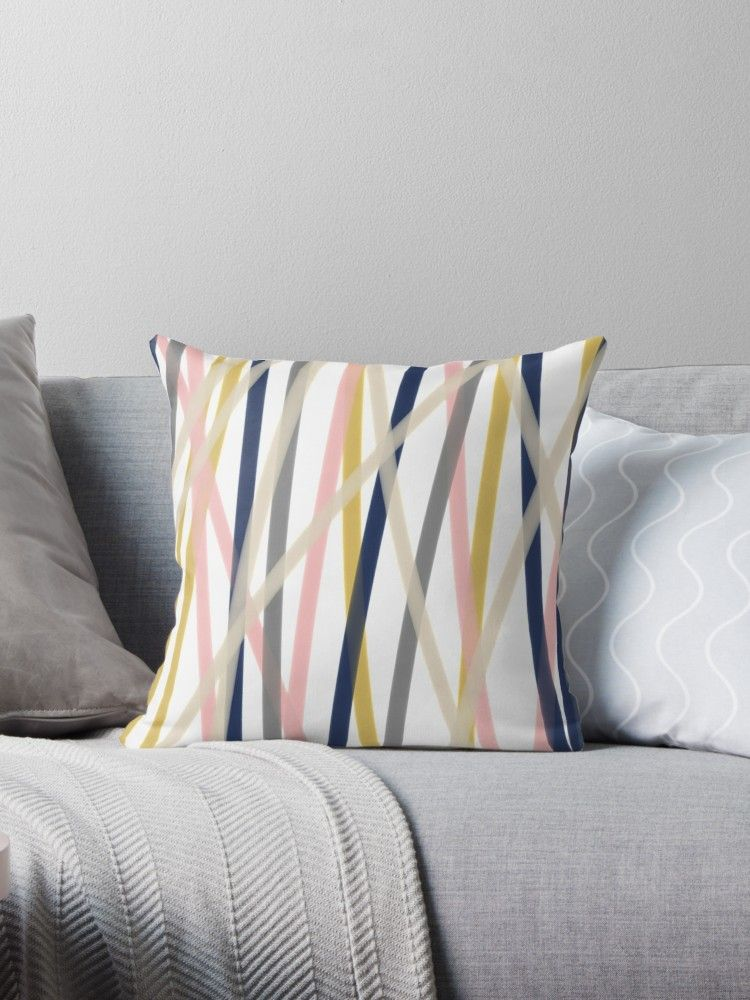 Ribbon Abstract In Mustard Yellow Blush Pink Navy Blue Grey Almond And White Minimalist Modern Throw Pillow By Kierkegaard Yellow Decor Living Room Pillow Decorative Bedroom Pink Living Room