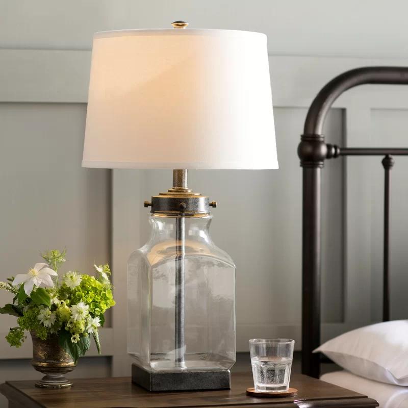 Maxeys 30 1 Clear Silver Table Lamp In 2021 Farmhouse Table Lamps Table Lamps Living Room Table Lamps For Bedroom