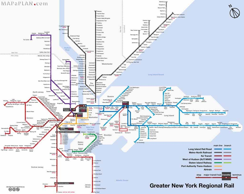 greater new york regional rail railroad train lines new york top tourist attractions map