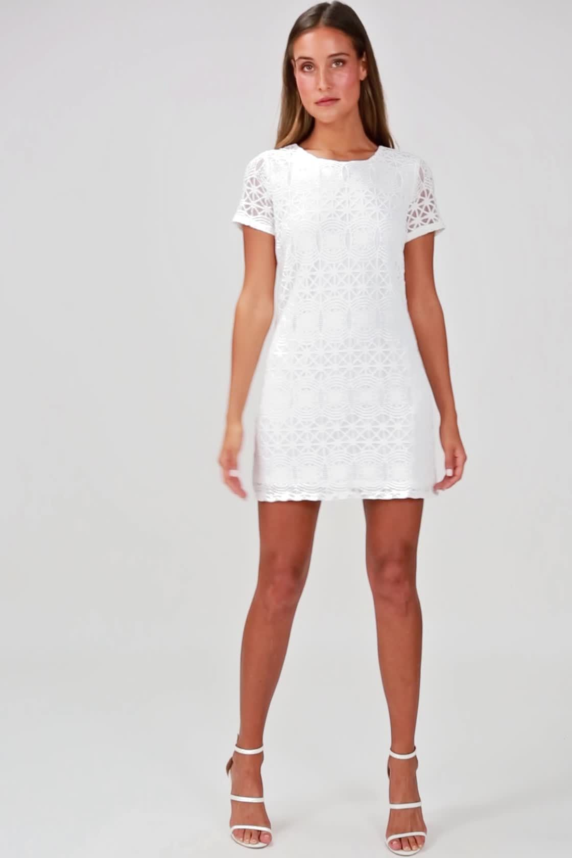 Love You For Eternity White Lace Shift Dress in 2019  09561bad9ab