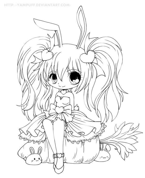 Cute Chibi Anime Bunny Girl Coloring Page Chibi Coloring Pages