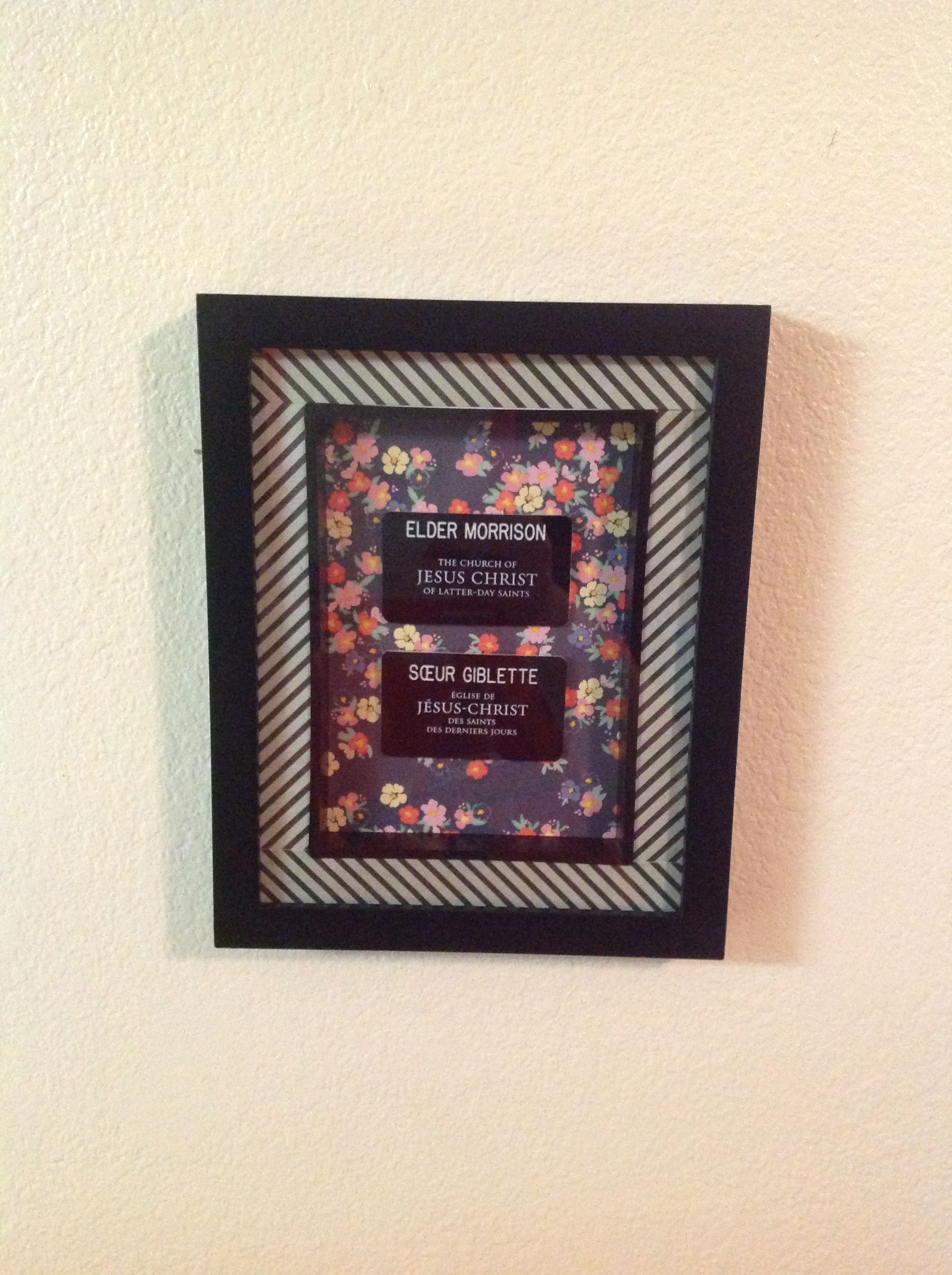 Missionary Name Tags In Shadow Box Frame With Scrapbook Paper