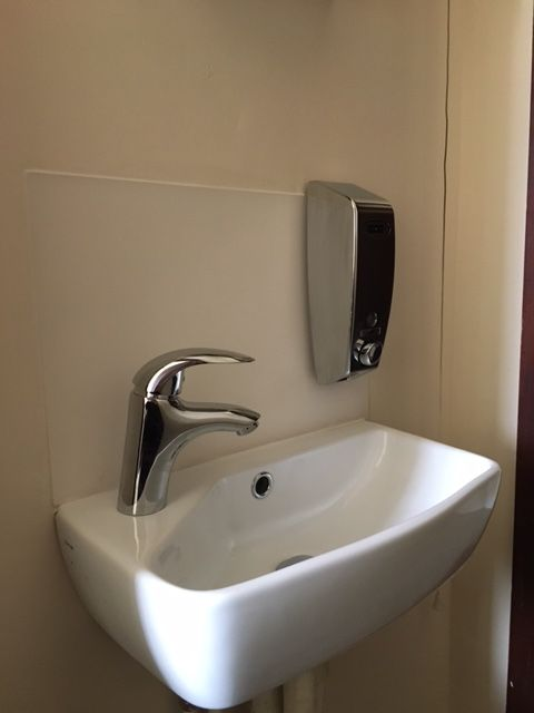Frosted Acrylic Makes A Perfect Splashback Behind A Small Sink