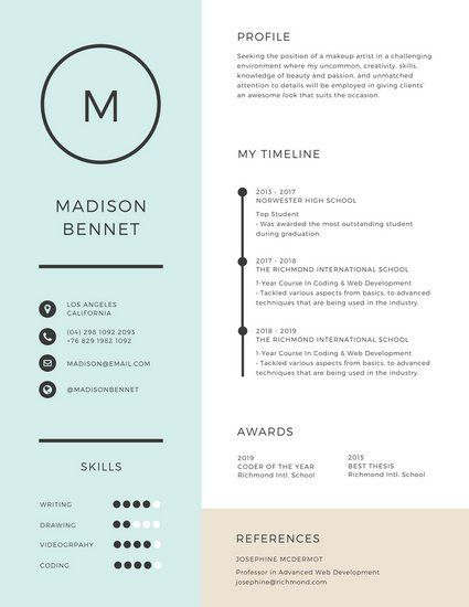 Light Blue Formal Corporate College Resume portfolio Pinterest - college resume templates