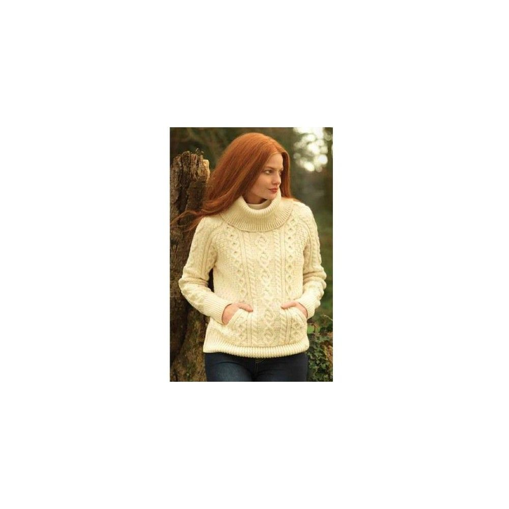 Ladies Roll Neck Aran Sweater - made from a beautiful Natural Irish Merino  soft wool. 4a4ee40b4