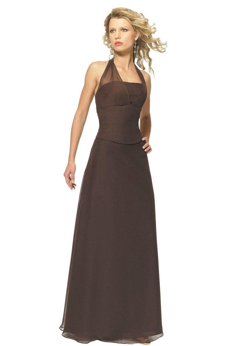 Halter elegant ruched floor length dark brown bridesmaid for Brown dresses for a wedding