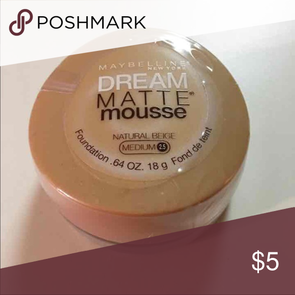 ❤️ Maybelline Dream Matte Mousse Beige 2.5 Never opened still sealed. Maybelline dream mousse matte beige 2.5 foundation. Maybelline Makeup Foundation