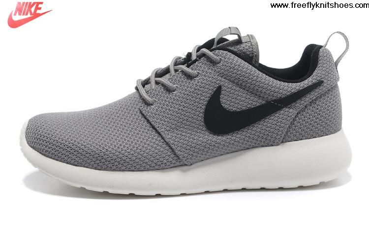 2013 Mens Nike Roshe Run Gray Black Shoes For Sale