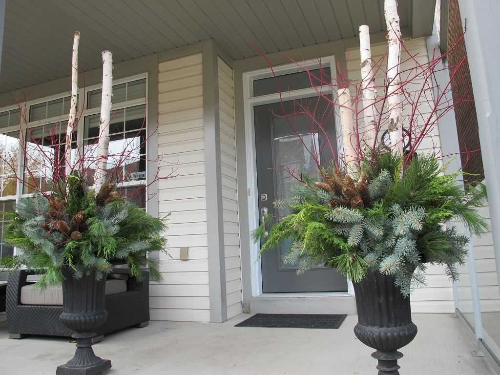 Winter Planters With Birch Branches Google Search